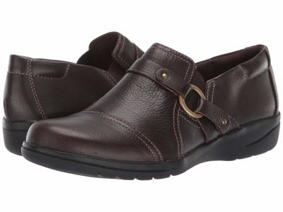 Clarks - Clarks Women Dark Brown Tumbled Leather Cheyn Fame Loafers