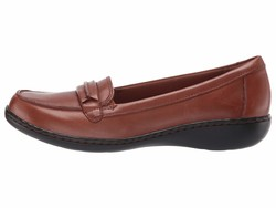 Clarks Women Dark Tan Leather Ashland Lily Loafers - Thumbnail