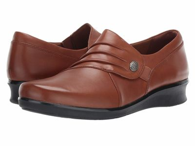 Clarks - Clarks Women Dark Tan Leather Hope Roxanne Loafers