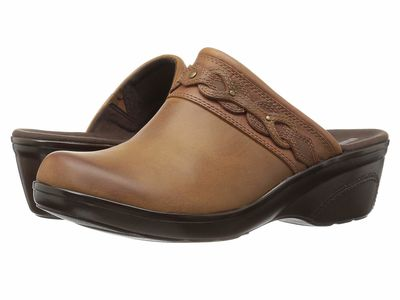 Clarks - Clarks Women Dark Tan Leather Marion Coreen Clogs Mules
