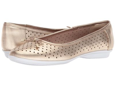 Clarks - Clarks Women Gold Metallic Leather Gracelin Lea Flats