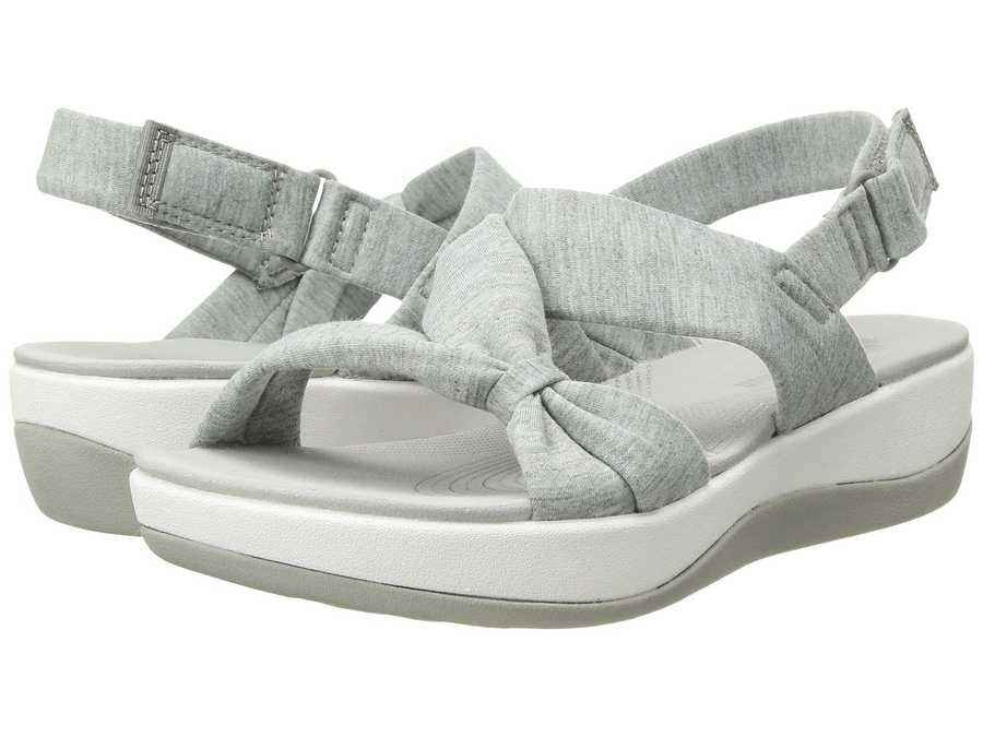 Clarks Women Grey Heathered Fabric Arla Primrose Flat Sandals