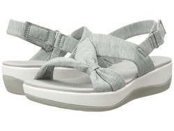 Clarks Women Grey Heathered Fabric Arla Primrose Flat Sandals - Thumbnail