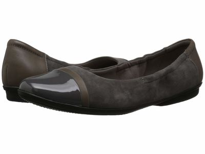 Clarks - Clarks Women Grey Suede/Leather Combo Gracelin Jenny Flats
