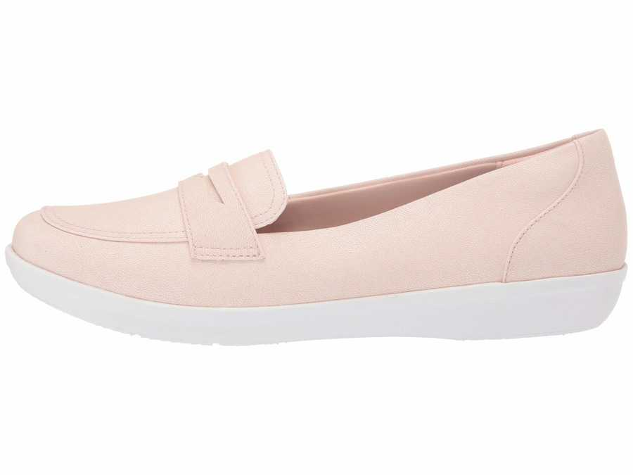 Clarks Women Light Pink Synthetic Nubuck Ayla Form Loafers