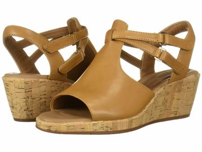 Clarks - Clarks Women Light Tan Leather Un Plaza Way Heeled Sandals