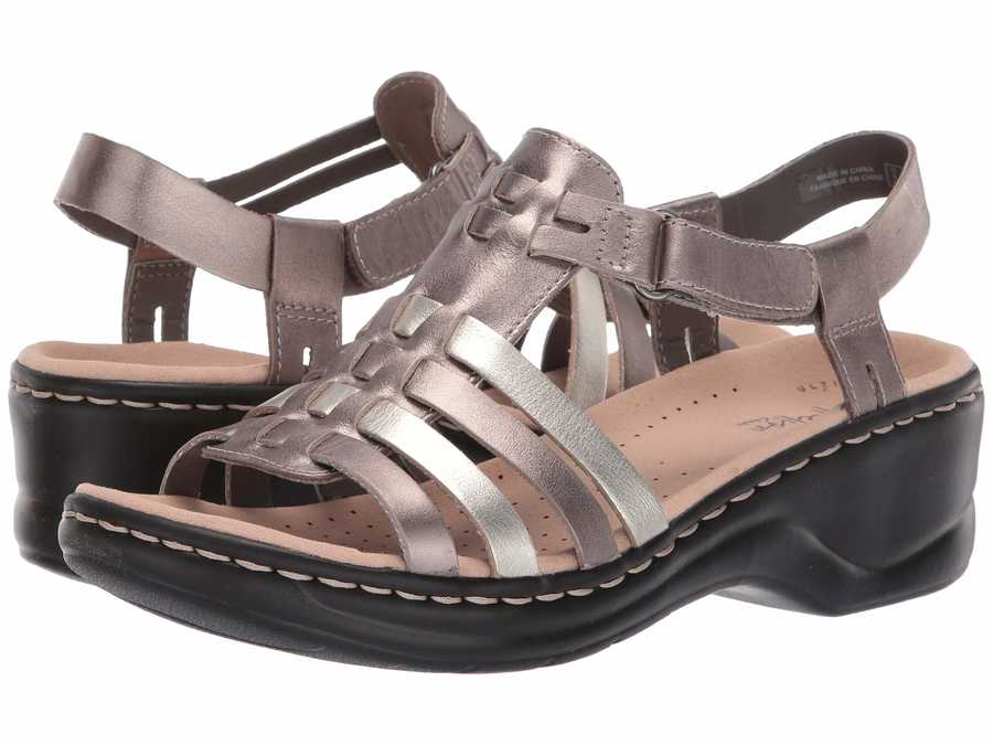 Clarks Women Metallic Multi Leather Lexi Bridge Heeled Sandals