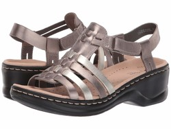 Clarks Women Metallic Multi Leather Lexi Bridge Heeled Sandals - Thumbnail
