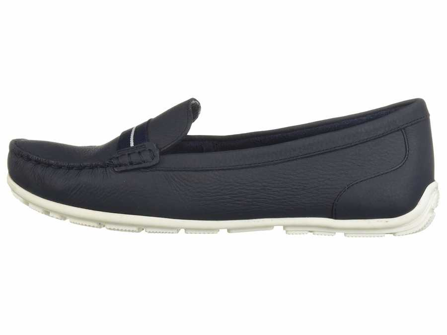 Clarks Women Navy Leather Dameo Vine Loafers