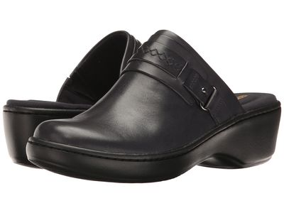 Clarks Women Navy Leather Delana Amber Clogs Mules