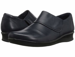 Clarks Women Navy Leather Hope Race Loafers - Thumbnail