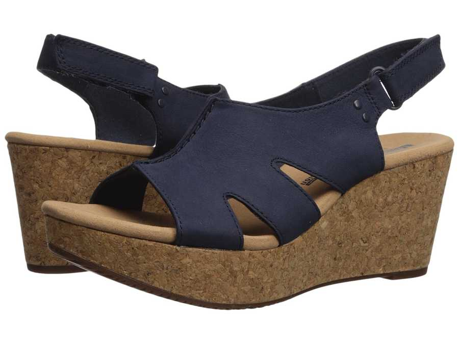 Clarks Women Navy Nubuck Annadel Bari Heeled Sandals