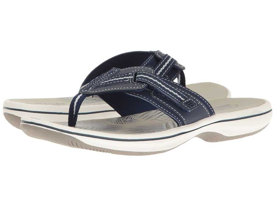 Clarks Women Navy Synthetic Brinkley Jazz Flip Flops