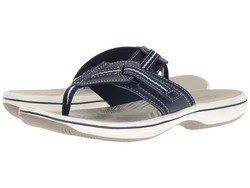 Clarks Women Navy Synthetic Brinkley Jazz Flip Flops - Thumbnail
