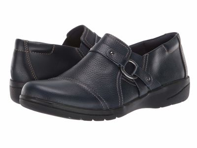 Clarks Women Navy Tumbled Leather Cheyn Fame Loafers