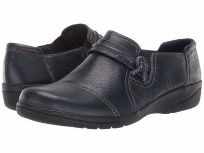 Clarks - Clarks Women Navy Tumbled Leather Cheyn Madi Loafers