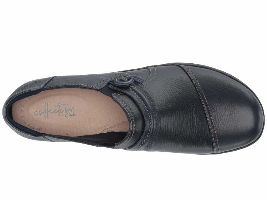 Clarks Women Navy Tumbled Leather Cheyn Madi Loafers