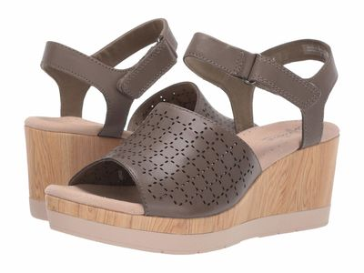 Clarks - Clarks Women Olive Leather Cammy Glory Heeled Sandals