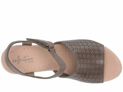 Clarks Women Olive Leather Cammy Glory Heeled Sandals - Thumbnail