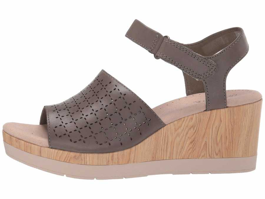 Clarks Women Olive Leather Cammy Glory Heeled Sandals