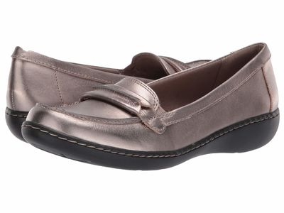 Clarks - Clarks Women Pewter Leather Ashland Lily Loafers