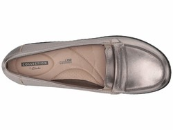 Clarks Women Pewter Leather Ashland Lily Loafers - Thumbnail