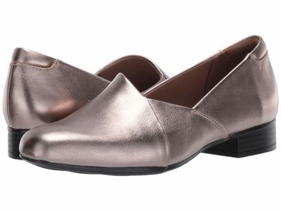 Clarks - Clarks Women Pewter Leather Juliet Palm Loafers