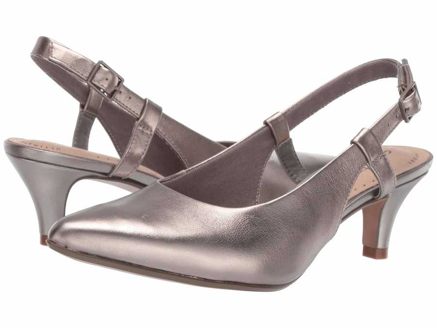 Clarks Women Pewter Leather Linvale Loop Pumps