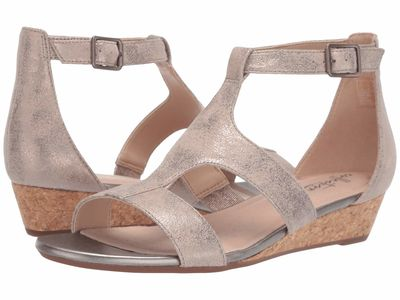 Clarks - Clarks Women Pewter Suede Abigail Lily Heeled Sandals