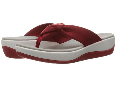Clarks - Clarks Women Red Heather Fabric Arla Glison Flip Flops