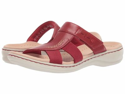 Clarks - Clarks Women Red Leather/Textile Combo Leisa Emily Flat Sandals
