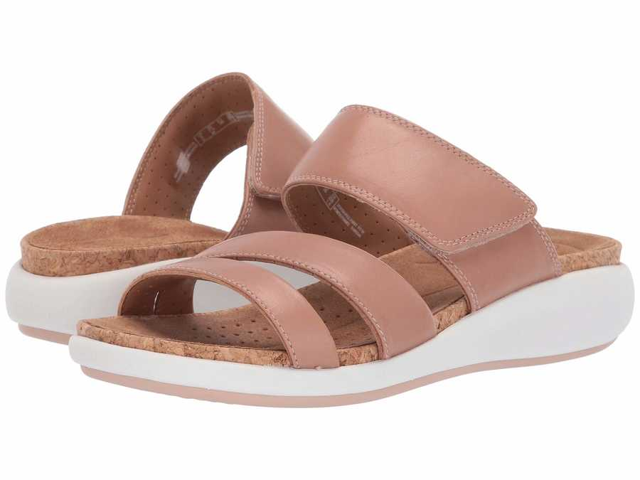 Clarks Women Rose Leather Un Bali Way Flat Sandals
