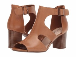 Clarks Women Tan Leather Deva Heidi Heeled Sandals - Thumbnail