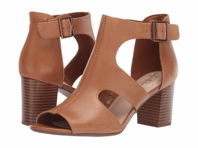 Clarks - Clarks Women Tan Leather Deva Heidi Heeled Sandals