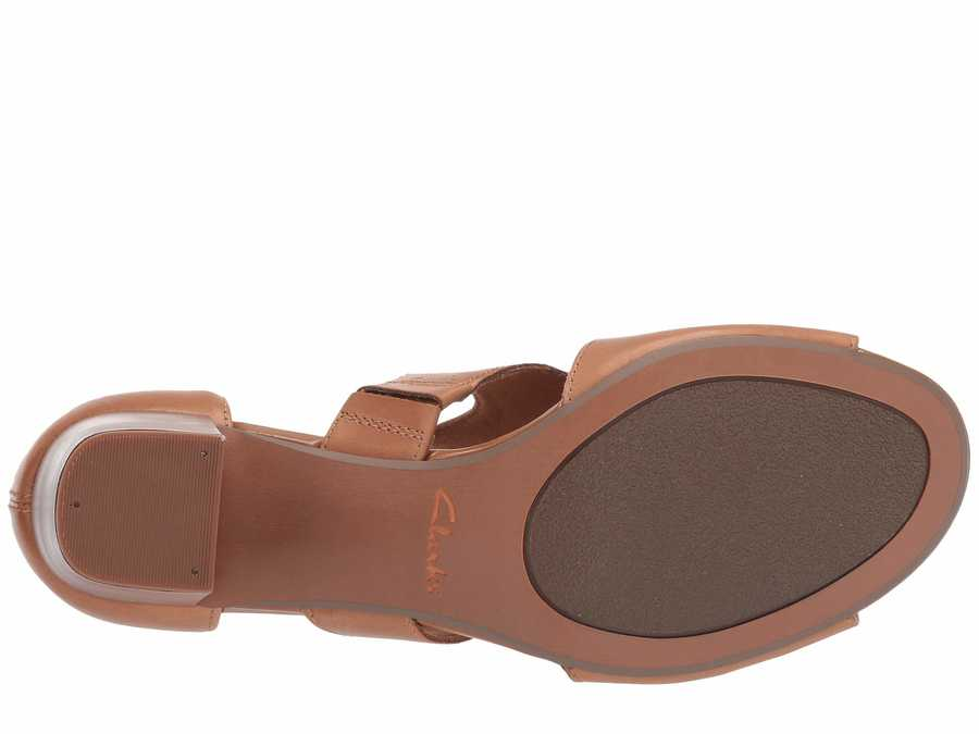 Clarks Women Tan Leather Deva Heidi Heeled Sandals