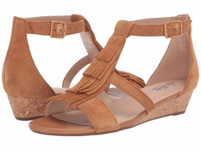 Clarks - Clarks Women Tan Suede Abigail Sun Heeled Sandals