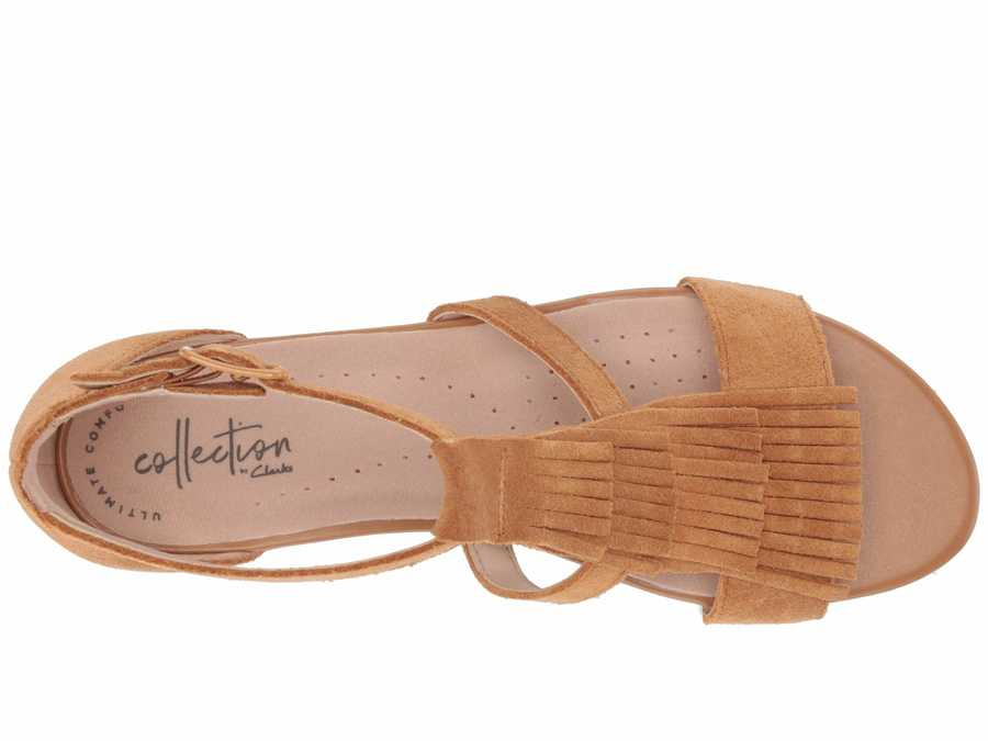 Clarks Women Tan Suede Abigail Sun Heeled Sandals