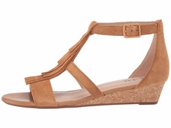 Clarks Women Tan Suede Abigail Sun Heeled Sandals - Thumbnail