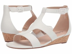 Clarks Women White Leather Abigail Lily Heeled Sandals - Thumbnail