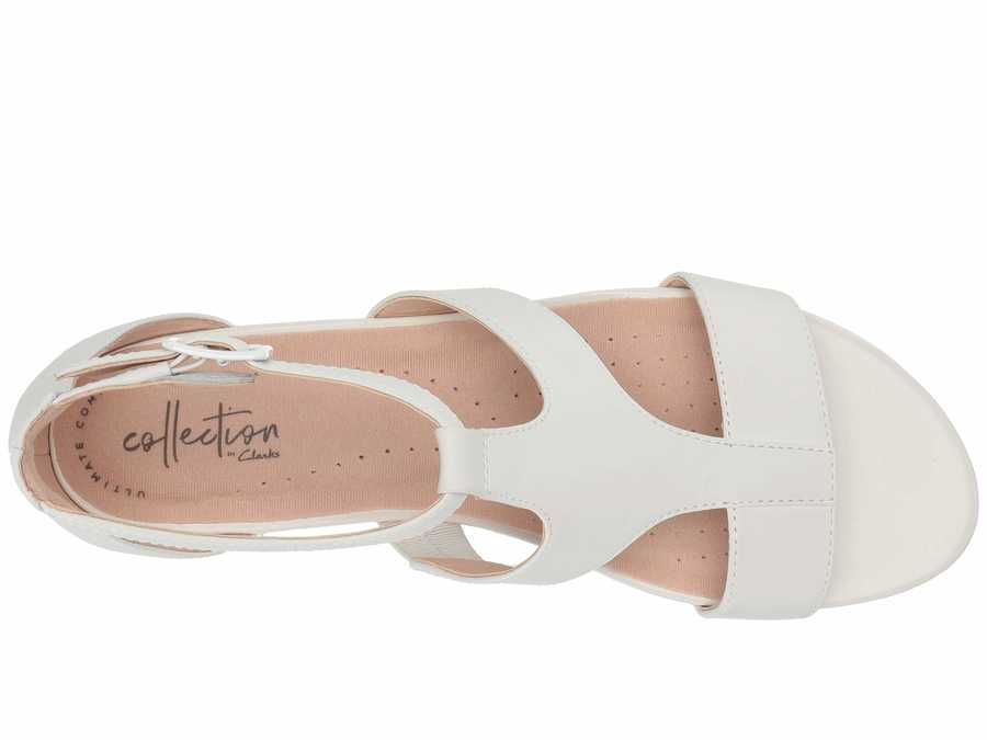 Clarks Women White Leather Abigail Lily Heeled Sandals