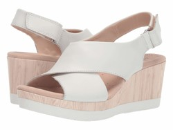 Clarks Women White Leather Cammy Pearl Heeled Sandals - Thumbnail