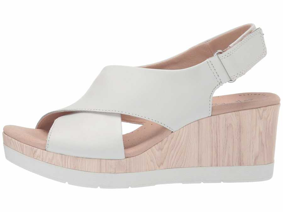 Clarks Women White Leather Cammy Pearl Heeled Sandals