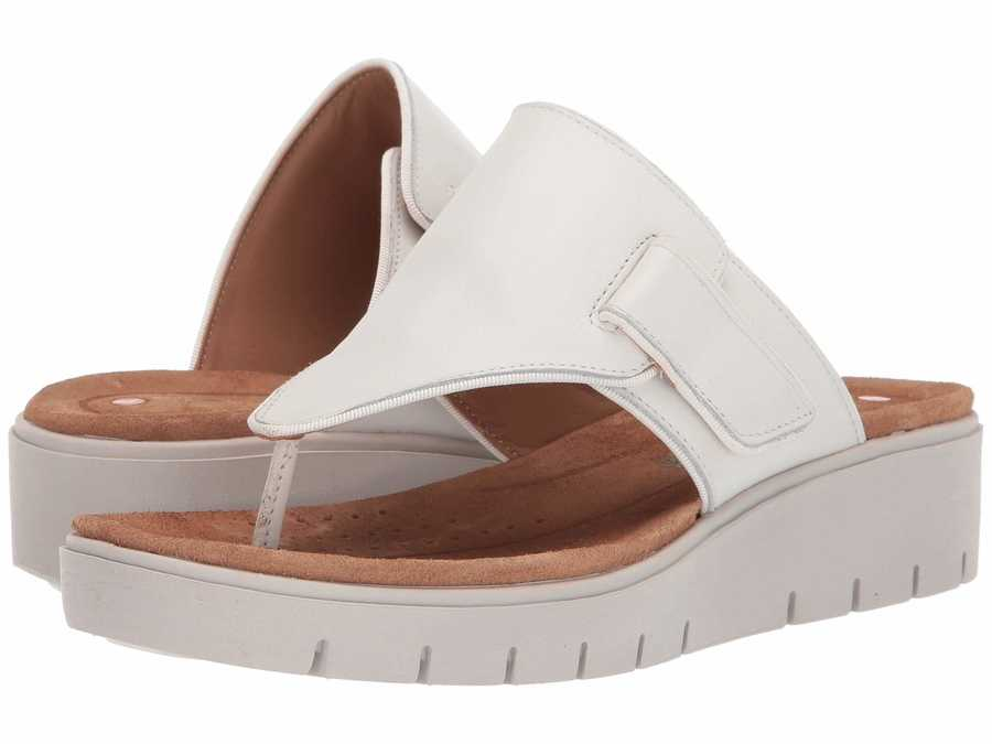 Clarks Women White Leather Un Karely Sea Flat Sandals