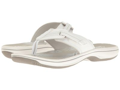 Clarks - Clarks Women White Synthetic Brinkley Jazz Flip Flops