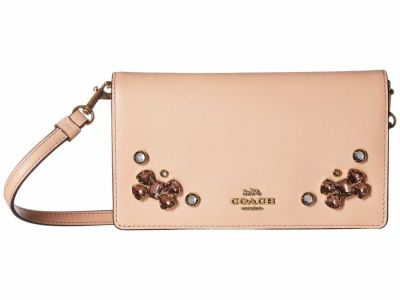 Coach - COACH B4 Nude Pink Crystal Applique Slim Phone Cross Body Bag