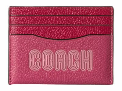 Coach - Coach Bright Cherry/Gunmetal Coach Print Flat Card Case Coin Card Case