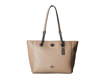 Coach - Coach Dk/Stone Pebbled Leather Turnlock Chain Tote 27 Tote Handbag