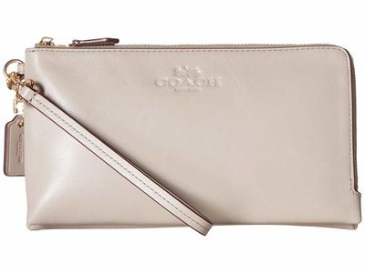 Coach - Coach İm/Grey Birch Pebbled Leather Double Zip Wallet Clutch Bag