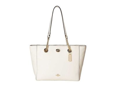 Coach - Coach Li/Chalk Pebbled Turnlock Chain Tote 27 Tote Handbag