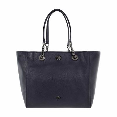 Coach - Coach Turnlock Ladies Large Pebbled Leather Tote Handbag 56830